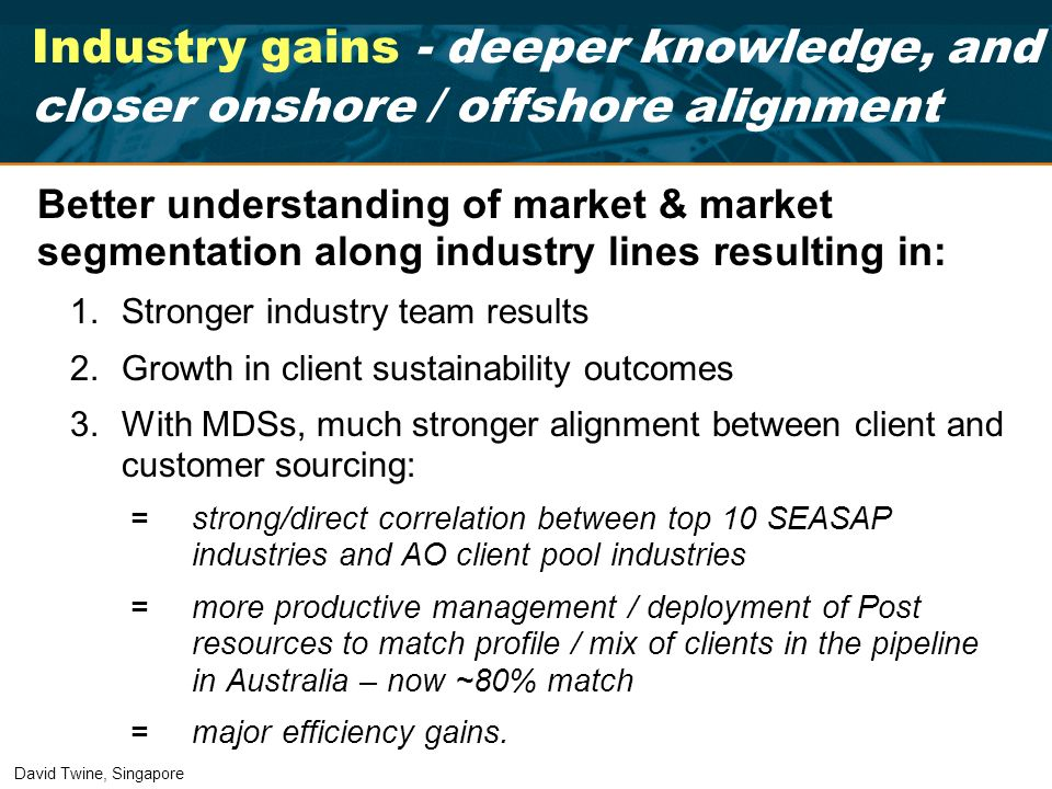 Industry gains - deeper knowledge, and closer onshore / offshore alignment