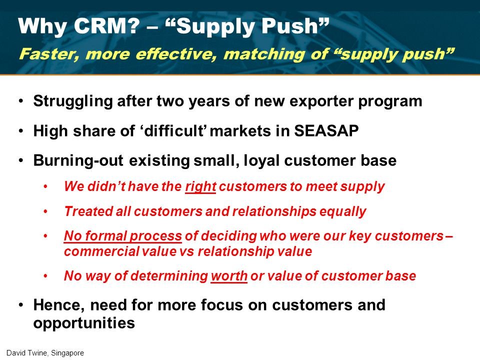 Why CRM – Supply Push Faster, more effective, matching of supply push