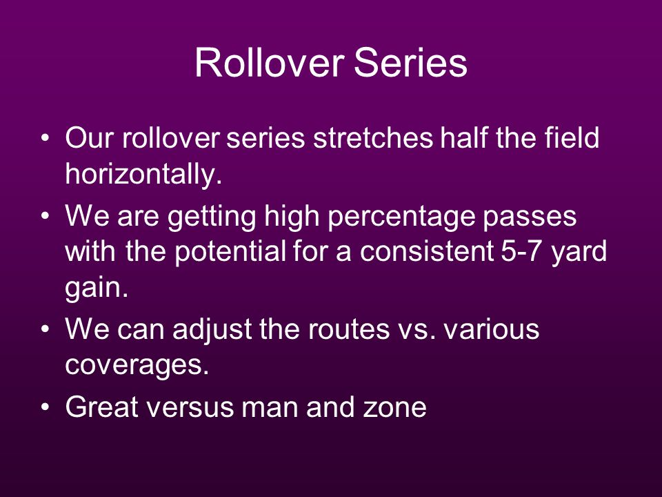 Rollover Series Our rollover series stretches half the field horizontally.