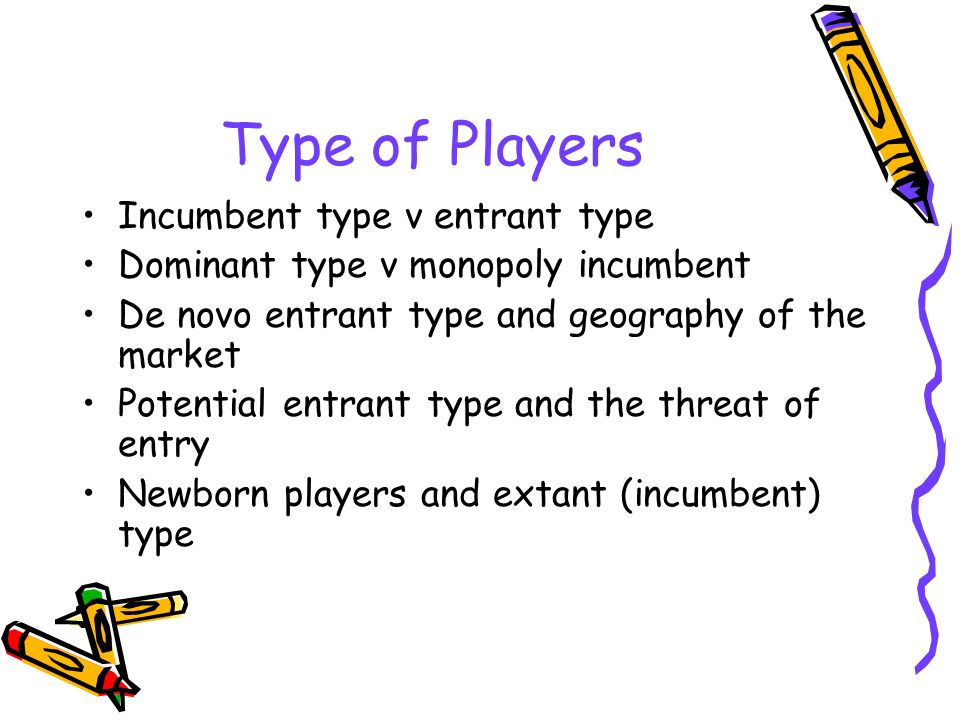 Type of Players Incumbent type v entrant type