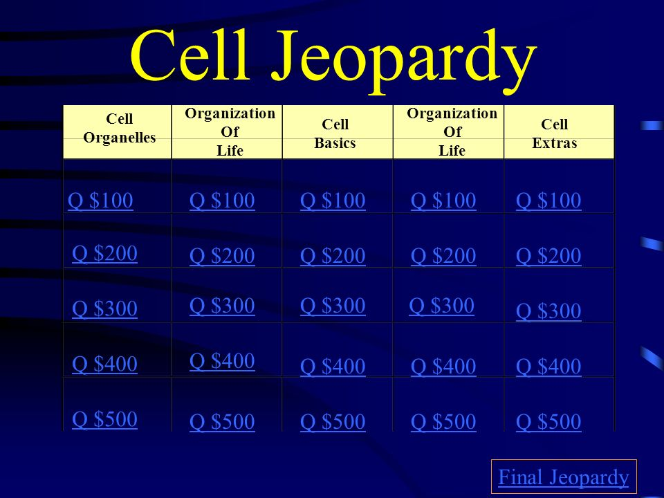 Cell Jeopardy Q $100 Q $100 Q $100 Q $100 Q $100 Q $200 Q $200 Q $200