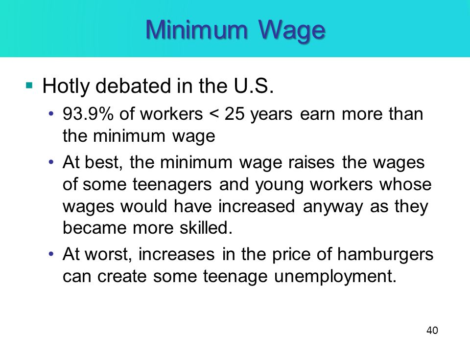 Minimum Wage Hotly debated in the U.S.