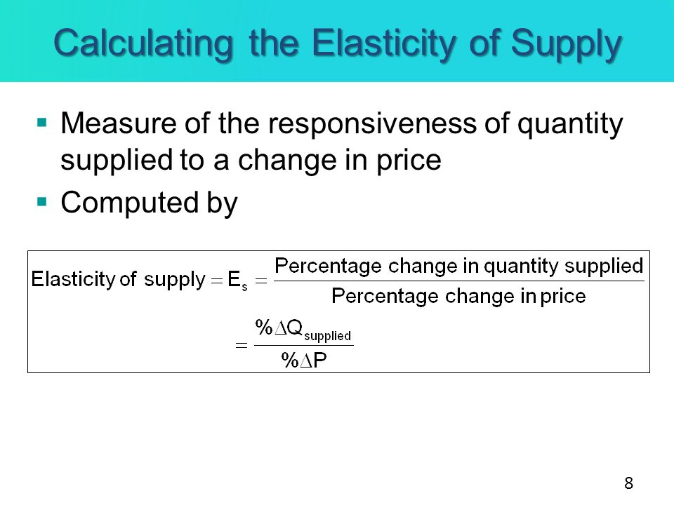 Calculating the Elasticity of Supply