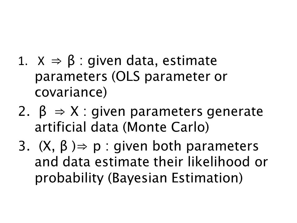 X ⇒ β : given data, estimate parameters (OLS parameter or covariance)