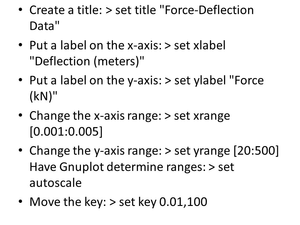 Create a title: > set title Force-Deflection Data