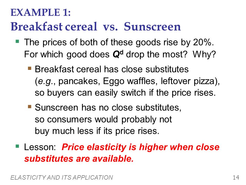 EXAMPLE 1: Breakfast cereal vs. Sunscreen