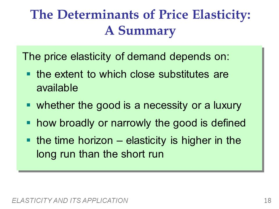 The Determinants of Price Elasticity: A Summary