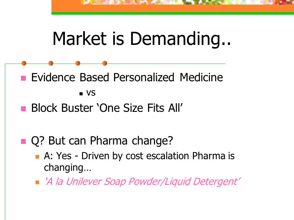 Market is Demanding.. Evidence Based Personalized Medicine