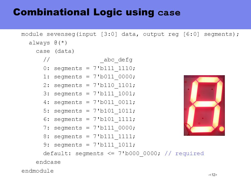 Combinational Logic using case