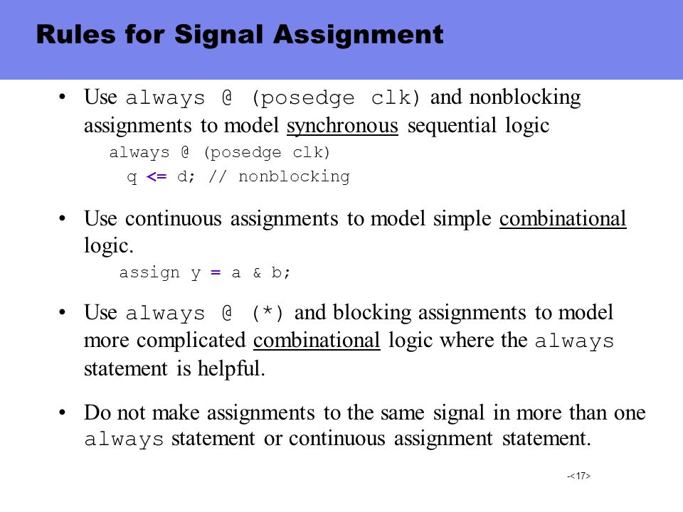 Rules for Signal Assignment