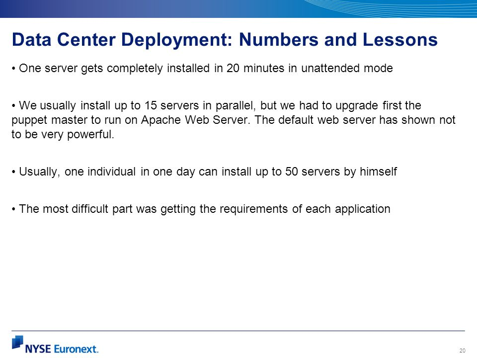 Data Center Deployment: Numbers and Lessons