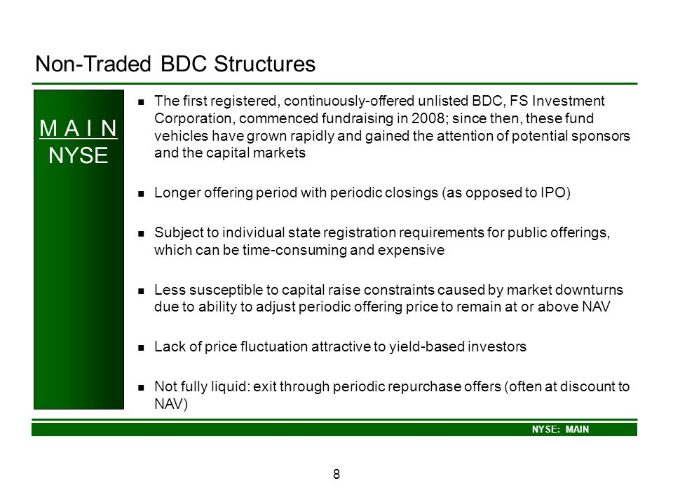 Non-Traded BDC Structures