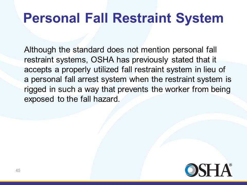 Personal Fall Restraint System