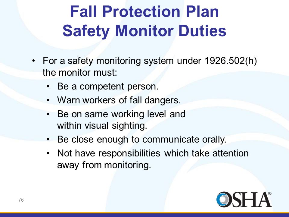 Fall Protection Plan Safety Monitor Duties
