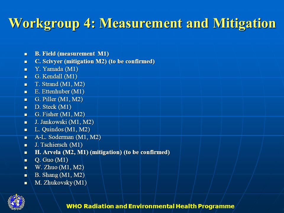 Workgroup 4: Measurement and Mitigation