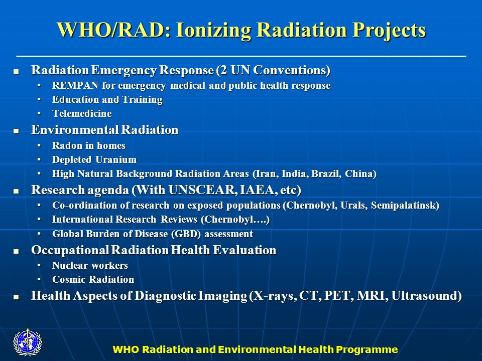 WHO/RAD: Ionizing Radiation Projects