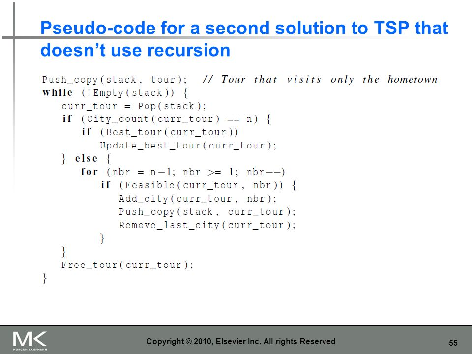 Pseudo-code for a second solution to TSP that doesn't use recursion