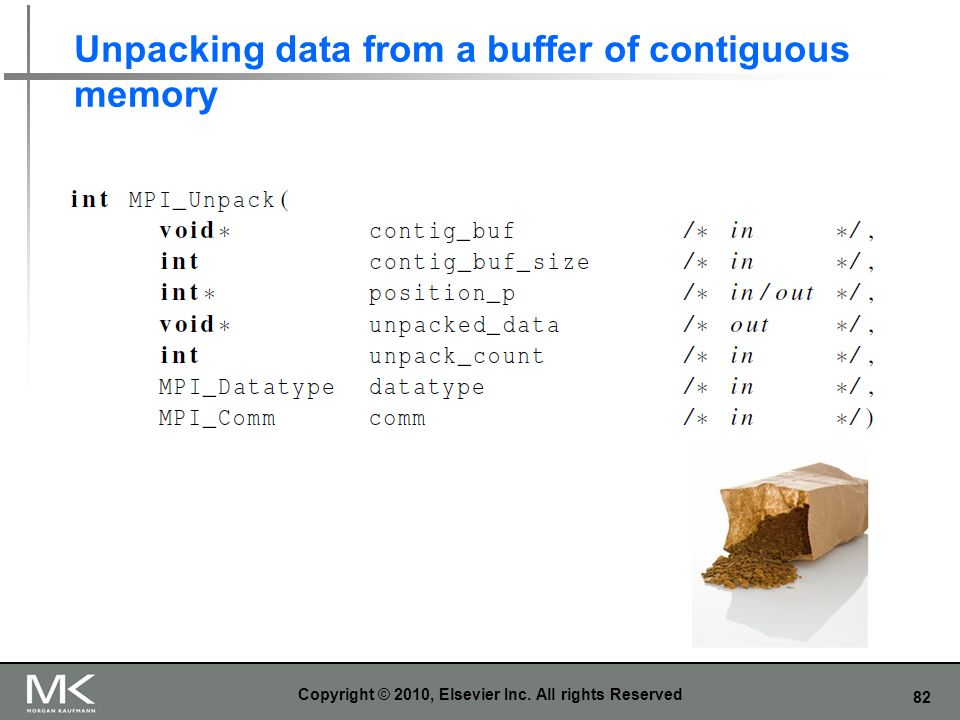 Unpacking data from a buffer of contiguous memory
