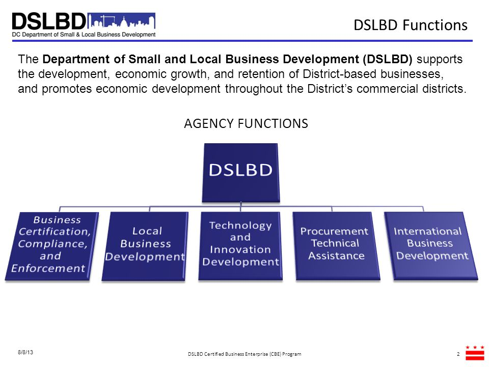 DSLBD DSLBD Functions AGENCY FUNCTIONS Local Business Development