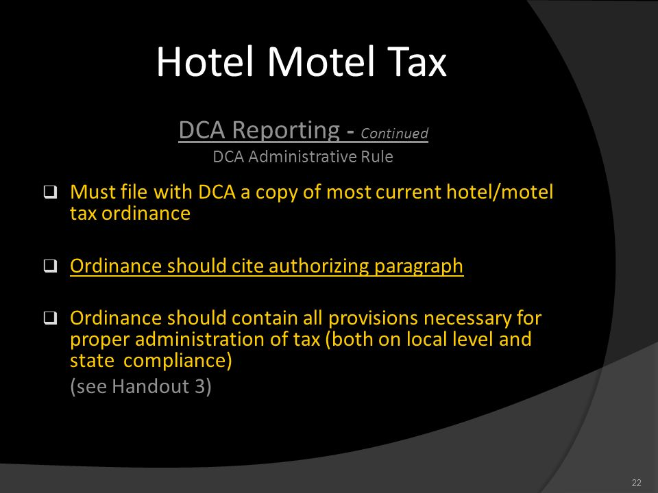 Hotel Motel Tax DCA Reporting - Continued