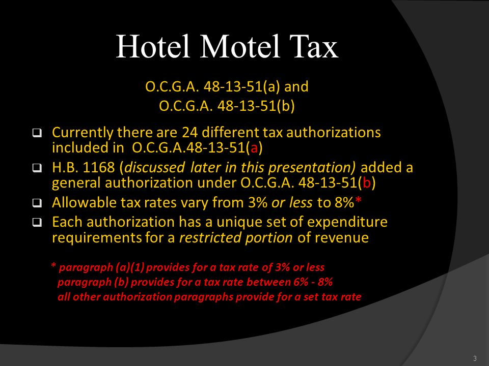 Hotel Motel Tax O.C.G.A (a) and O.C.G.A (b)