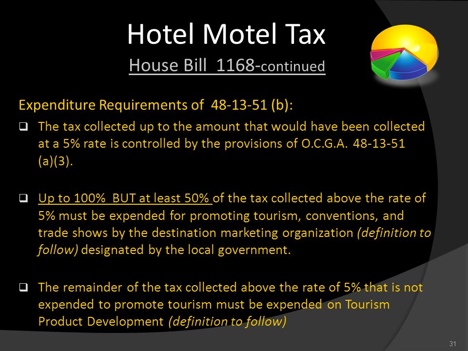 Hotel Motel Tax House Bill 1168-continued