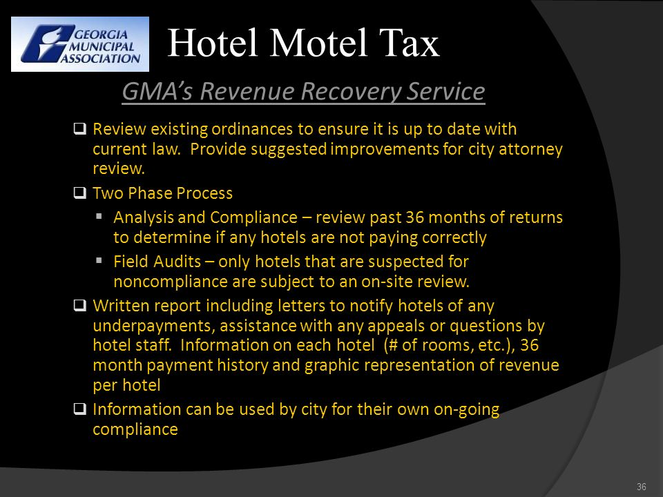 Hotel Motel Tax GMA's Revenue Recovery Service