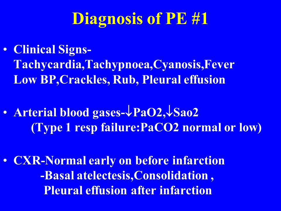 Diagnosis of PE #1 Clinical Signs-Tachycardia,Tachypnoea,Cyanosis,Fever Low BP,Crackles, Rub, Pleural effusion.