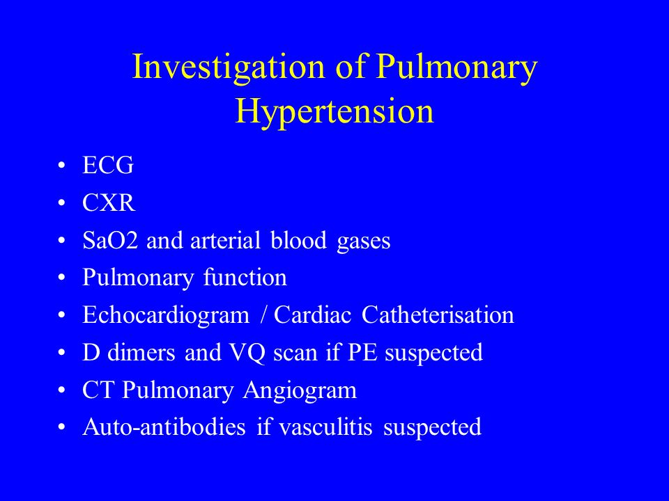Investigation of Pulmonary Hypertension