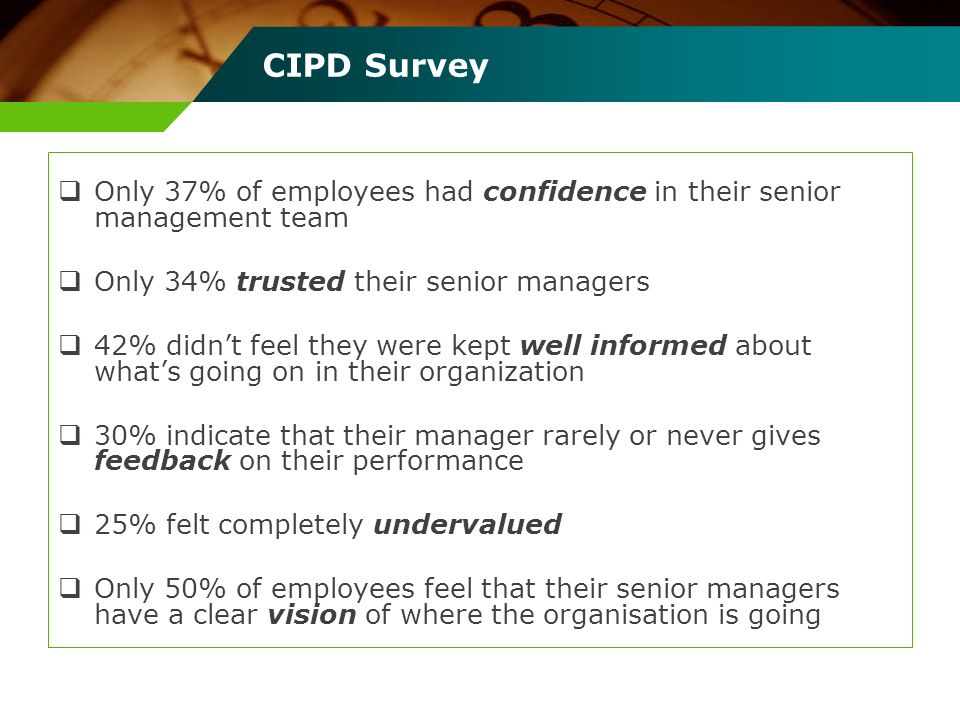 CIPD Survey Only 37% of employees had confidence in their senior management team. Only 34% trusted their senior managers.