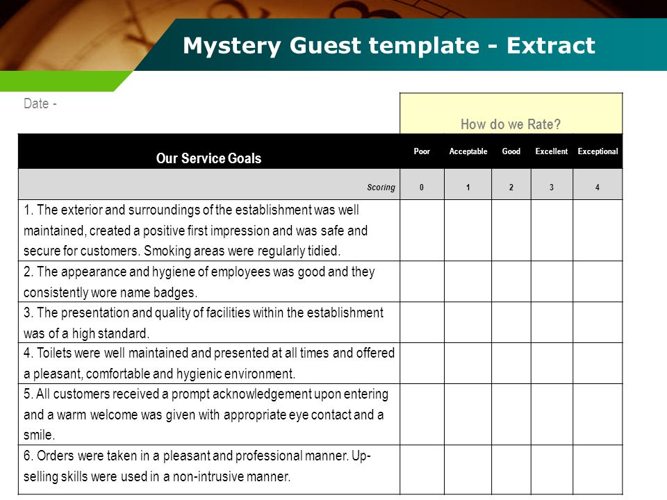 Mystery Guest template - Extract