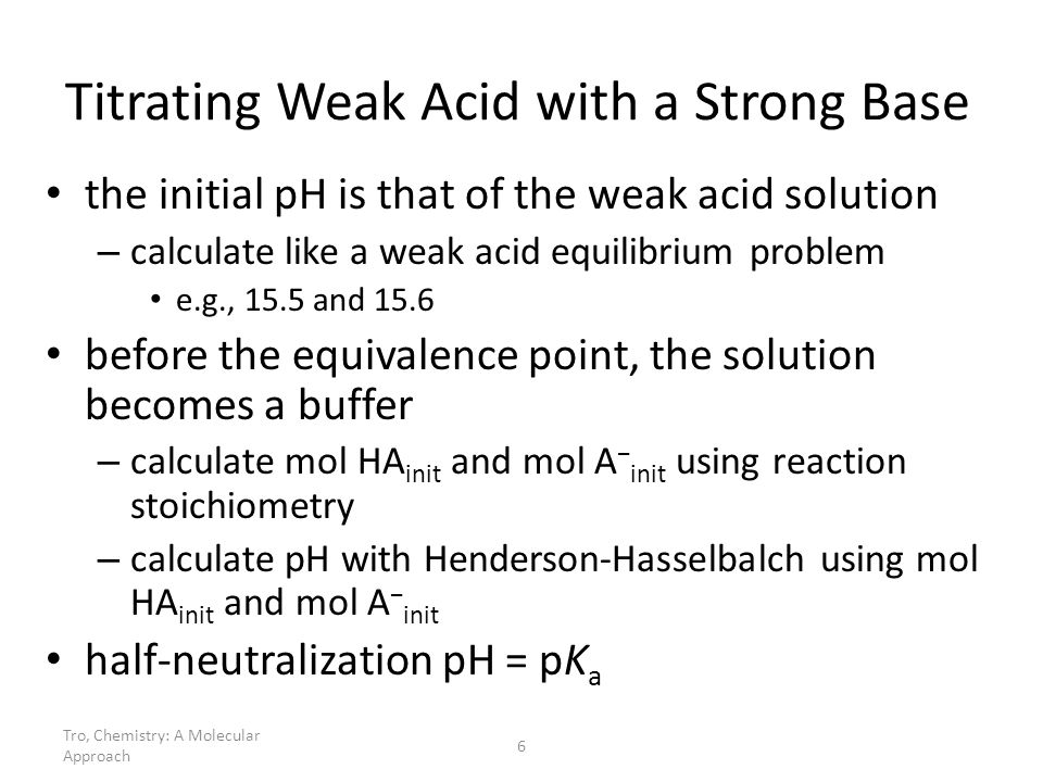Titrating Weak Acid with a Strong Base