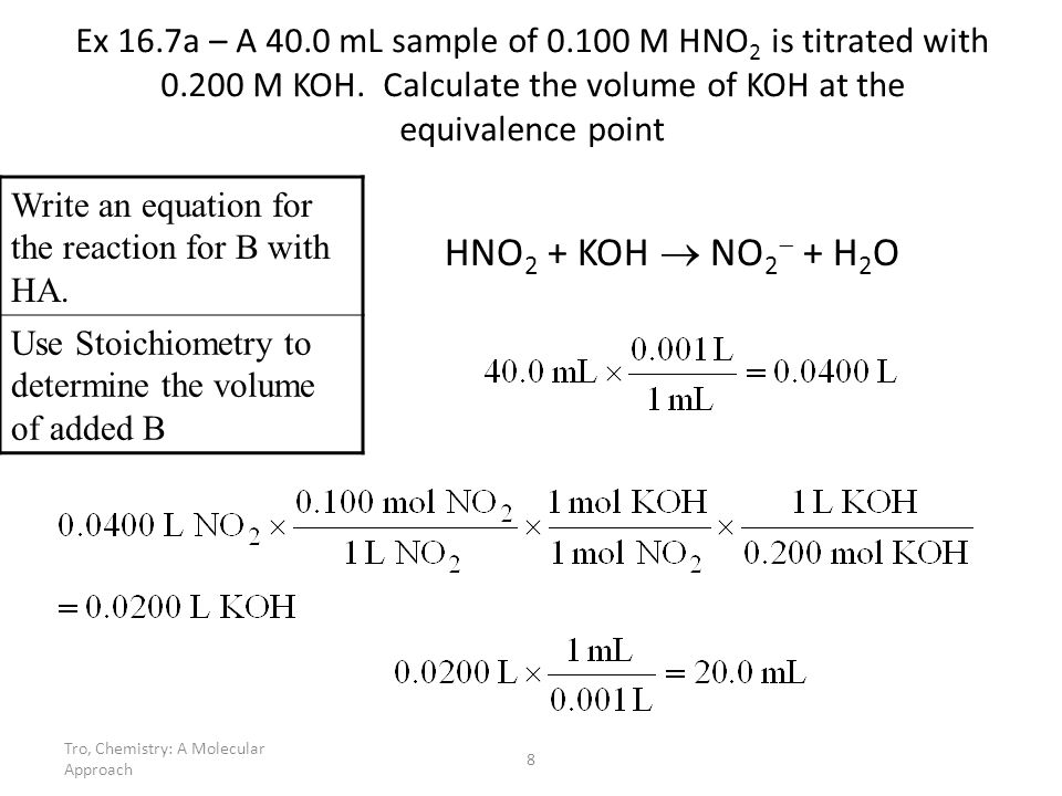 Ex 16. 7a – A mL sample of M HNO2 is titrated with 0