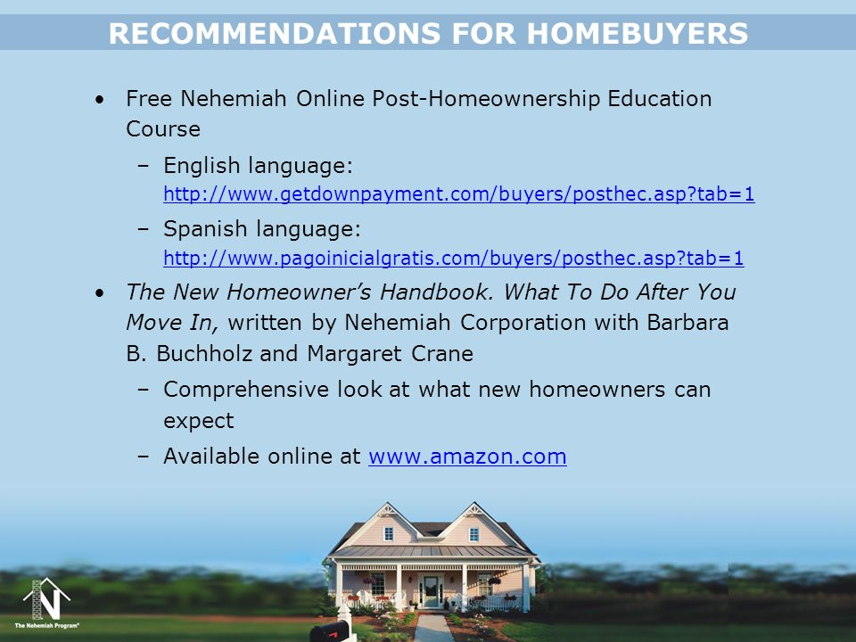 RECOMMENDATIONS FOR HOMEBUYERS