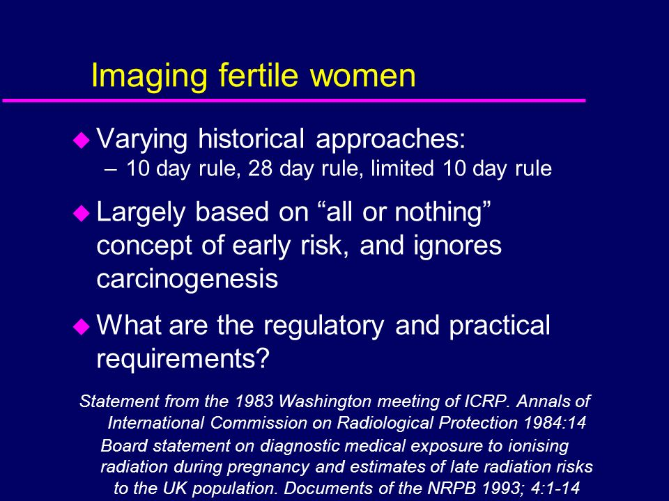 Imaging fertile women Varying historical approaches: