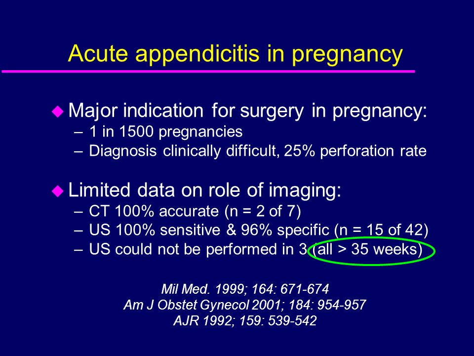 Acute appendicitis in pregnancy