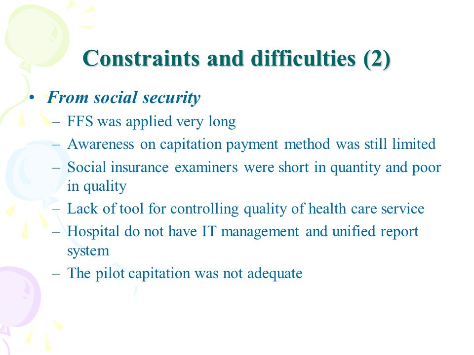 Constraints and difficulties (2)