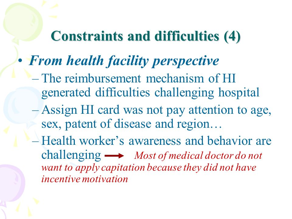 Constraints and difficulties (4)