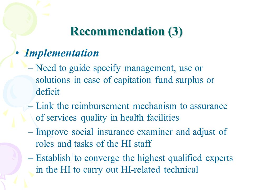 Recommendation (3) Implementation