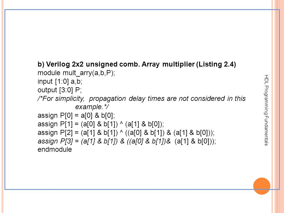 b) Verilog 2x2 unsigned comb. Array multiplier (Listing 2.4)