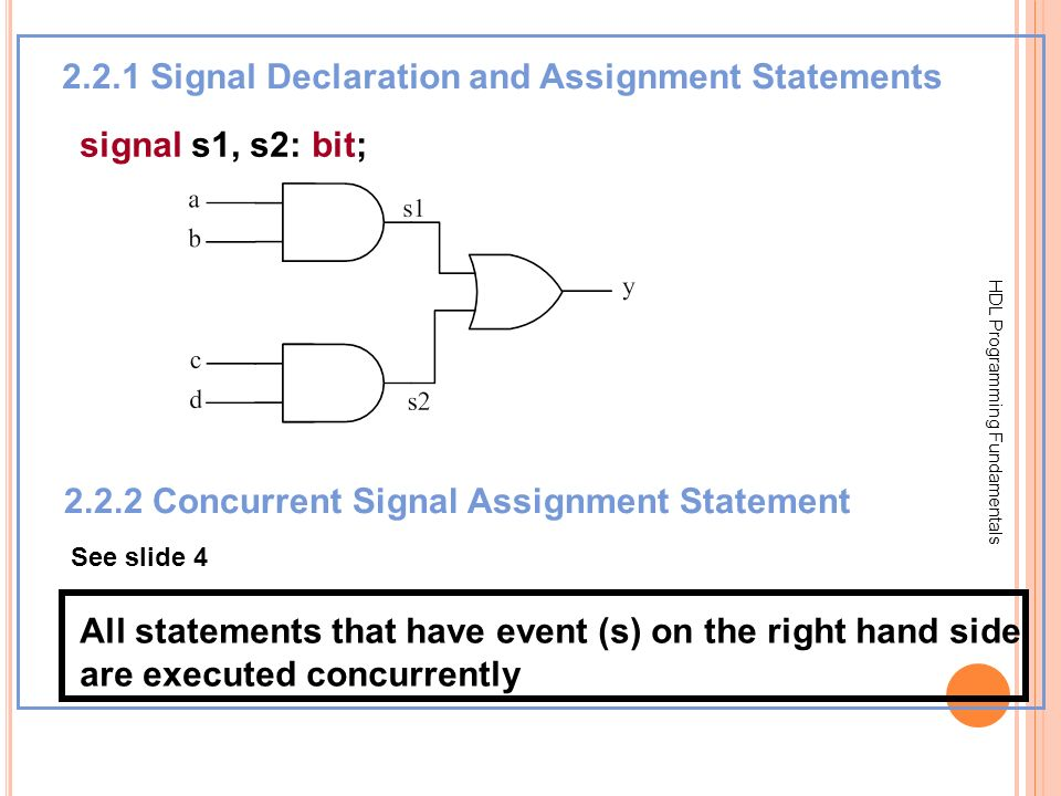 2.2.1 Signal Declaration and Assignment Statements