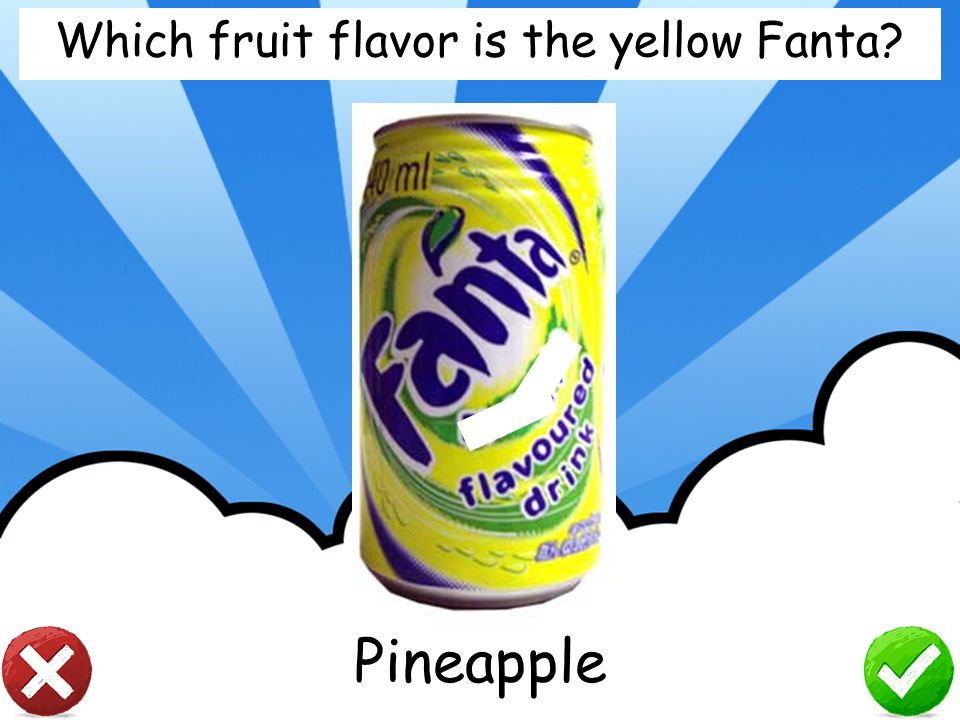Which fruit flavor is the yellow Fanta
