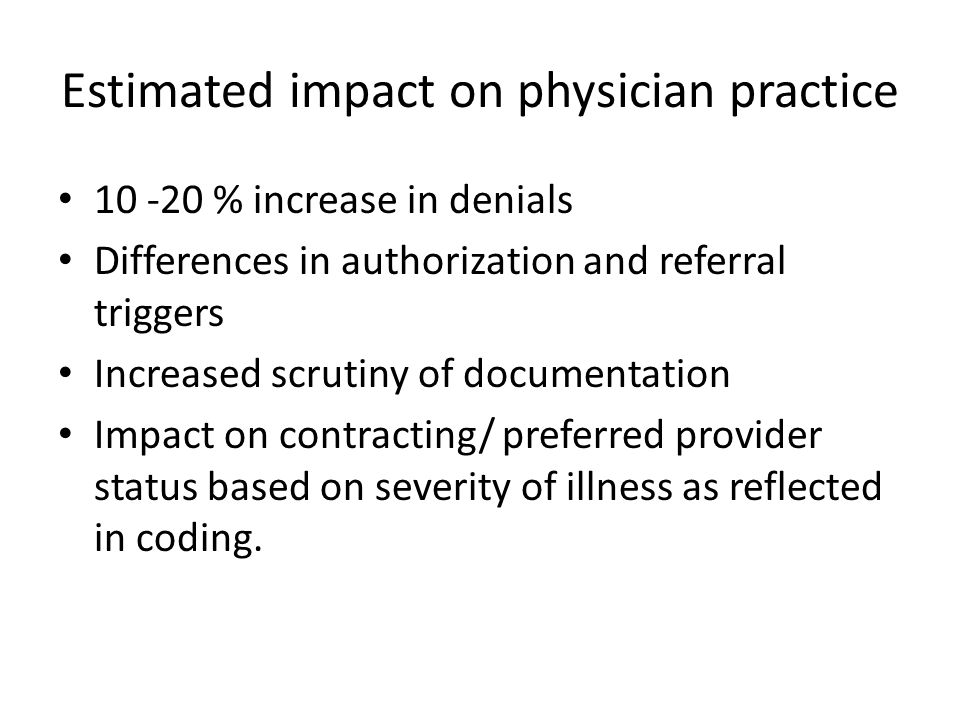 Estimated impact on physician practice