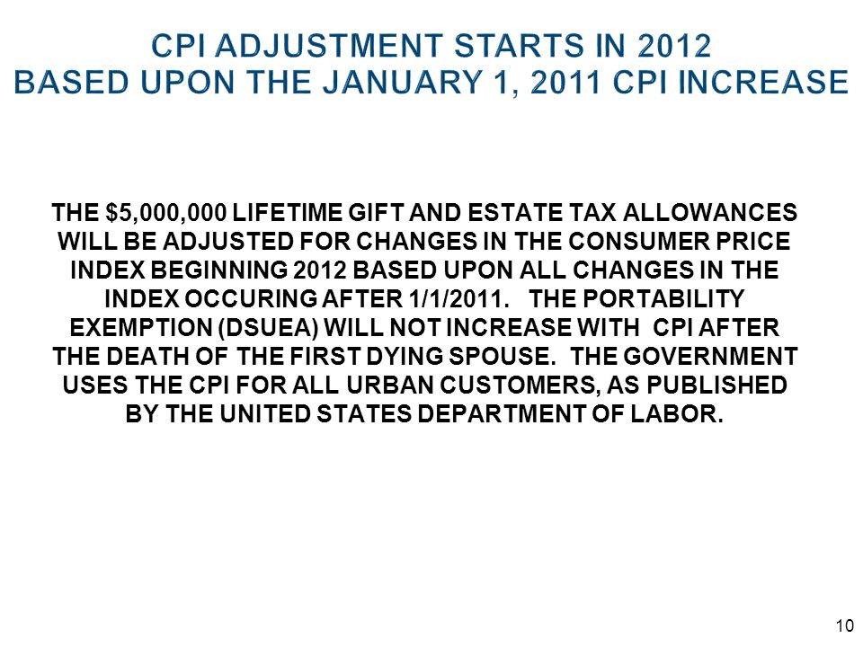 CPI ADJUSTMENT STARTS IN 2012