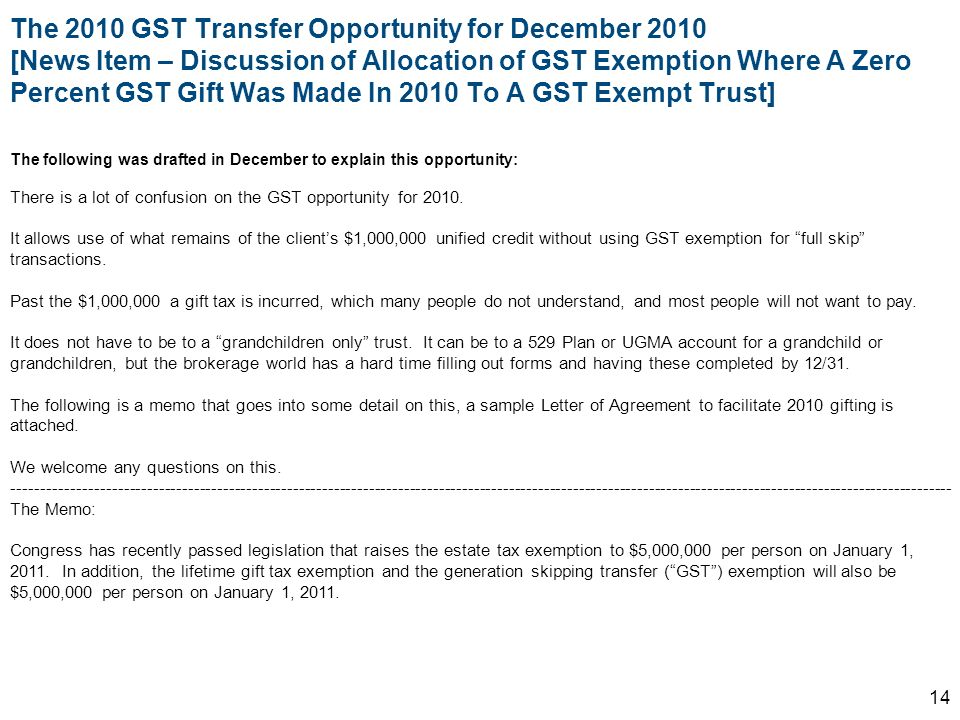 The 2010 GST Transfer Opportunity for December 2010 [News Item – Discussion of Allocation of GST Exemption Where A Zero Percent GST Gift Was Made In 2010 To A GST Exempt Trust]