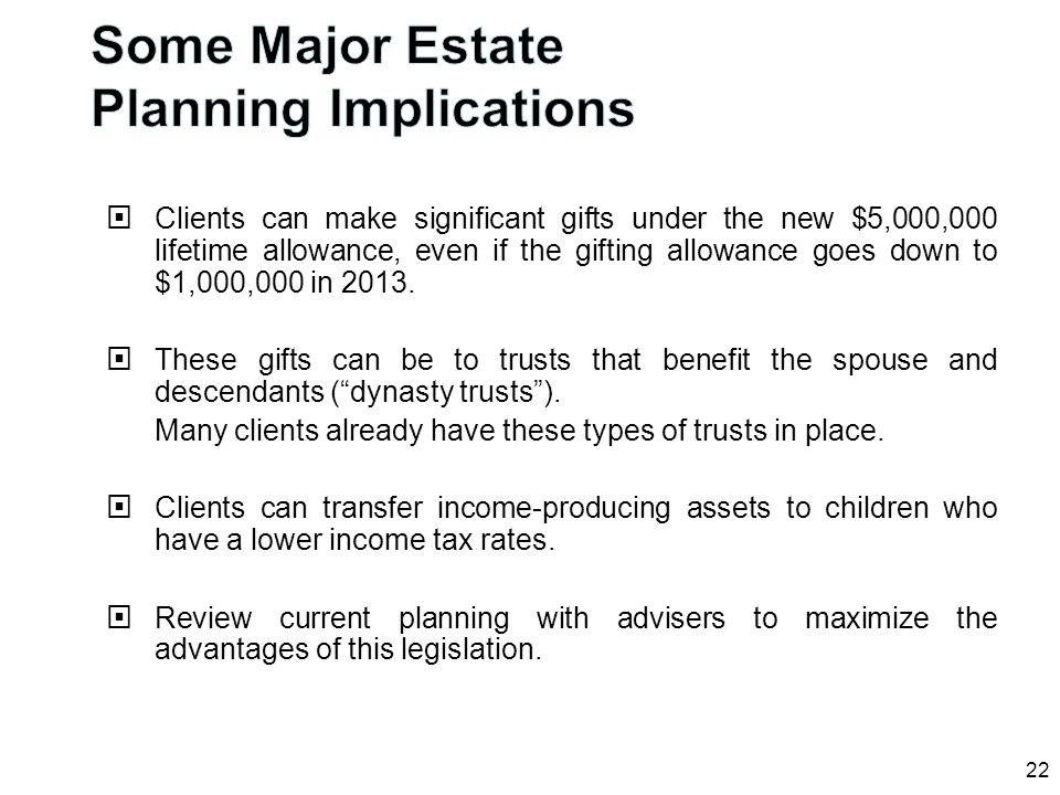Some Major Estate Planning Implications
