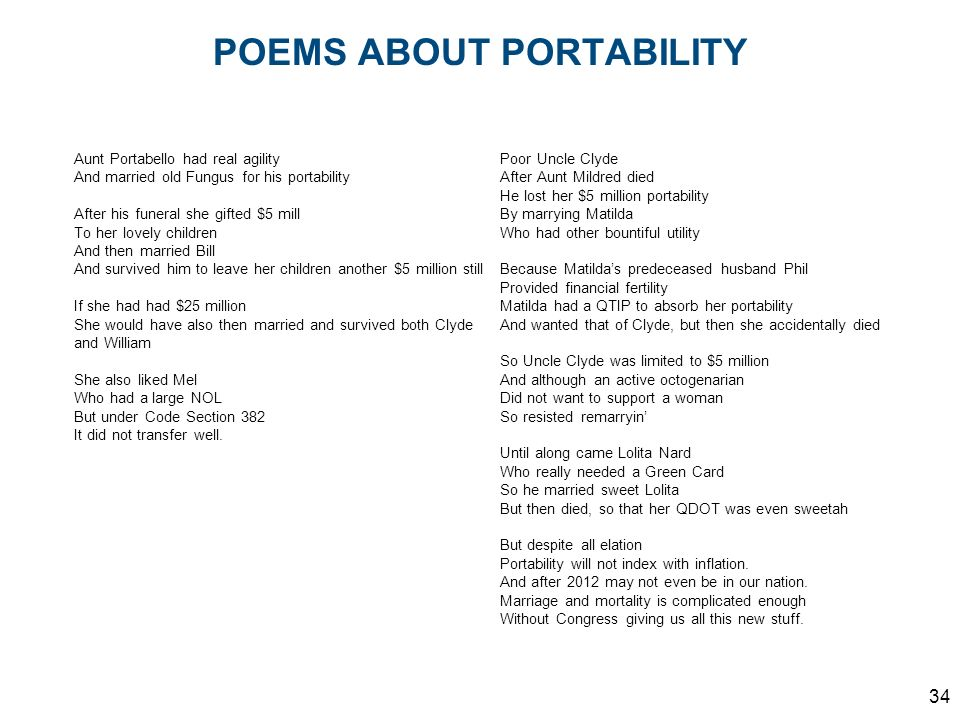 POEMS ABOUT PORTABILITY
