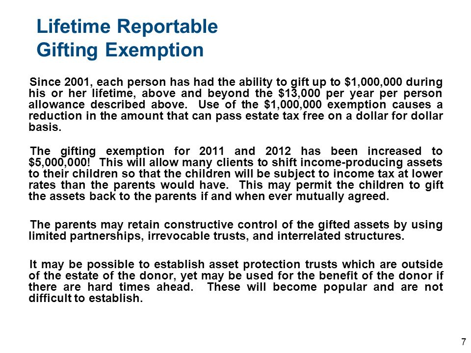 Lifetime Reportable Gifting Exemption