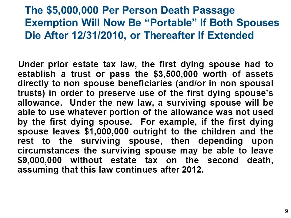 The $5,000,000 Per Person Death Passage Exemption Will Now Be Portable If Both Spouses Die After 12/31/2010, or Thereafter If Extended