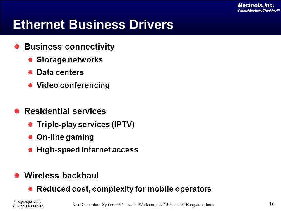 Ethernet Business Drivers